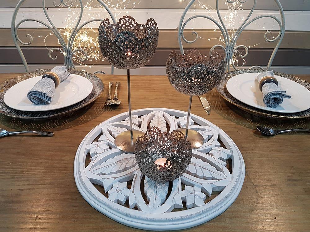 Centro de mesa copas plateadas omicr n inspiraci n y dise o for Centros de mesa con copas